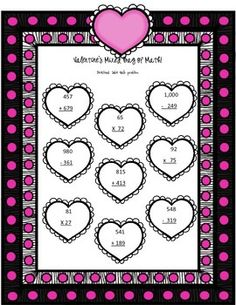 Valentine's Mixed Bag of Math- FREE UNTIL Feb 5!