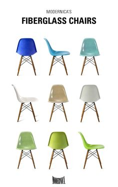 Modernica Fiberglass Shell Chairs with Dowel bases come in over 30 colors | ShopPigment