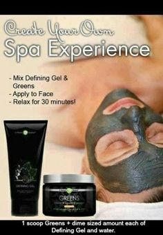 "ladies our ""GREENS FACIAL"" works wonders! my skins been acting crazy lately & ive only tried it once & it has completely calmed my skin! our defining gel & greens make this facial! get them for 40% off as a loyal customer! message me on fb for more information! #acne #skin #facial #itworks #disneyworld #cooking #home #greens #spa #kimkardashian #mommy #pregnancy #bride #wedding"