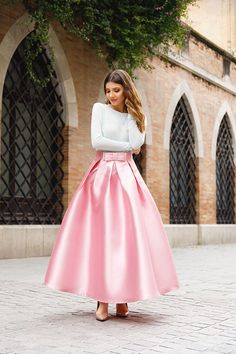 Wearing a pink princess skirt from @chicwish on the streets of Sevilla, here on my blog: http://larisacostea.com/2017/04/hola-princesa/
