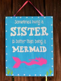 Mermaid Big Sister Little Sister sign by LillouHandmade on Etsy, $20.00
