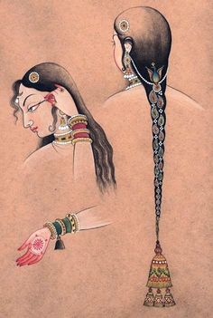 Vintage Indian Clothing Dibujos Eye-liner & hair ornaments & bracelets per ancient Indian wisdom, the art of dressing itself is spiritual .if done mindfully. Mughal Paintings, Indian Art Paintings, Ancient Indian Paintings, Ancient Indian Art, Indian Artwork, Abstract Paintings, Oil Paintings, Art Indien, Cultures Du Monde