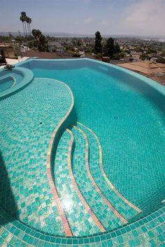 * Lightstreams Gold Iridescent Collection Aquamarine Glass Tile