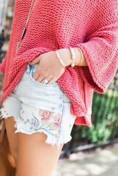 Spring Style Inspiration via Glitter & Gingham // Free People Halo Sweater, Embroidered Denim, Dolce Vita Sandals, Madewell Tote, Kendra Scott Rayne Necklace // Spring Outfit Idea
