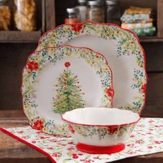 the pioneer woman holiday cheer 12 piece dinnerware set multicolor