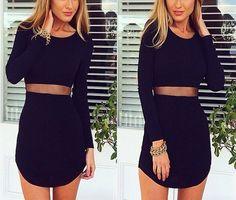 Black Patchwork Grenadine Dew Waist Package Buttocks Dress - Mini Dresses - Dresses
