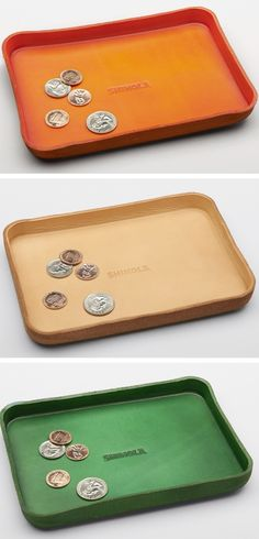 Leather moulded coin tray //