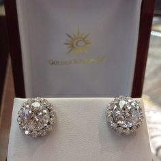 GOLDEN SUN JEWELRY: 3.00ct solitaires each with surround 1.25ct halo. Big diamond studs. #wedding #engagement #halo #diamond #diamonds #goldensunjewelry #gold #gia #earrings