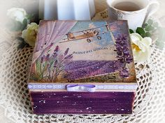 "Jewelry ,  tea , candy box "" French lavender fields "" with lavenders / Decoupage technique box vintage looking. Shabby chic . Rustic style.."