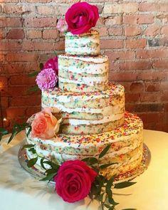 Funfetti naked wedding cake
