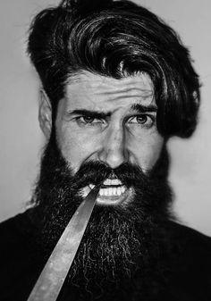 THE BEARDED. Real men pick their teeth with sharp knives instead of flimsy toothpicks. Beard Cuts, Stubble Beard, Gay Beard, Handsome Bearded Men, Bearded Guys, Hair And Beard Styles, Long Hair Styles, Hot Beards, Hipster Beard
