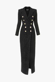 Balmain designer Jackets & Coats for women Tweed Coat, Tweed Dress, Coat Dress, Dress Outfits, Fashion Dresses, Balmain Dress, Balmain Coat, Mode Mantel, Langer Mantel