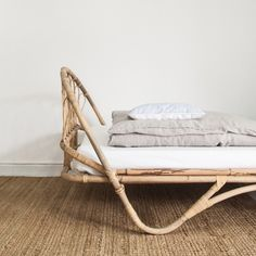 The rattan frame with its pattern shaped loops accentuates the timeless sophistication of vintage French design. Place this bed in a room with bright and contemporary features to instil a feeling of serenity. Rattan Daybed, Rattan Furniture, French Vintage, Queenslander, Room Decor, Couch, Contemporary, Blanket, Baby Room