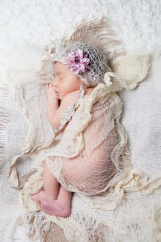 PACKAGE Baby Girl Hat And Cheese Cloth, Newborn  Hat in Light Tan, Cream with Pink Flower, Great for Photo Prop