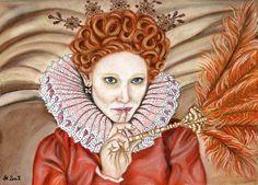 Cate Blanchett as Queen Elizabeth I in Elizabeth: The Golden Age. --- real size: soft pastels and color pencils for little details, about 10 hours Elizabeth Prayer Scriptures, Queen Of England, Tudor History, Henry Viii, Anne Boleyn, Queen Elizabeth, Golden Age, Modern Art, Queens