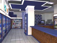 interior Farmacia. Diseñador Ignacio Stesina.