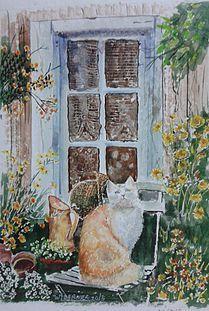 BERNERARTES   AQUARELAS Gatinha na janela = aquarela