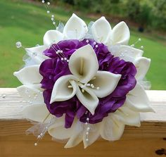 Top Quality Silk Flower Wedding Bouquet White/Creme Calla Lily Purple Roses