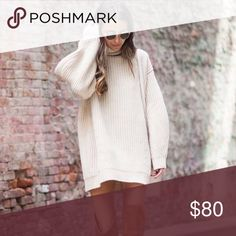 """Oversized 'Cambridge' Sweater Dress Can you picture this with leggings, tights, or jeans? It's so insanely cute. This mega-warm oatmeal-colored sweater dress is here to get you through any and every social obligation between September and March.   33"""" long from shoulder to hem   Don't like the price? 💸 Make me an offer with the button below! 👇🏻 kate elle Dresses Long Sleeve"""
