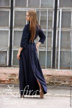 """Платья ручной работы. Ярмарка Мастеров - ручная работа. Купить Длинное платье """" Прага"""". Handmade. Тёмно-синий"""