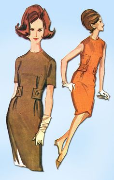 """McCall's Pattern 6608 Misses' Sheath Dress Pattern with Side Tabs Cool 60s Mod Style Easy to Make Dated 1962 Complete Nice Condition 14 of 14 Pieces Counted. Verified. Guaranteed. Size 12 (32"""" Bust) W"""