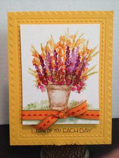 Art Impressions wonderful water color.  Handmade watercolor flower floral card.