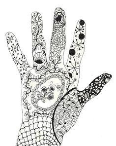 My left hand   Zentangle