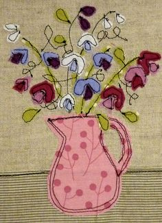 Sweet Peas by Loopy Linnet Freehand Machine Embroidery, Free Motion Embroidery, Machine Embroidery Applique, Free Motion Quilting, Applique Quilts, Hand Embroidery, Sewing Art, Sewing Crafts, Sewing Projects