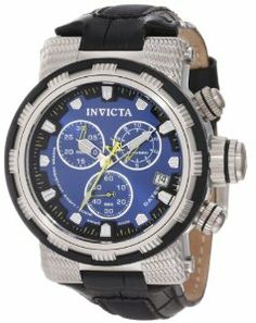 Invicta Men's 11229 Reserve Chronograph Blue Dial Black Leather Watch Invicta. $314.69. Water-resistant to 200 M (660 feet). Swiss quartz movement. Blue dial with silver tone and white hands and hour markers, yellow second hand; luminous; stainless steel bezel with black polyurethane ring; screw-down crown and pushers. Chronograph functions with 60 second 30 minute and 1/10th of a second subdials with yellow hands; date function. Flame-fusion crystal; stainless...