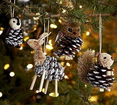 Pine Cone Animal Ornaments for Christmas!