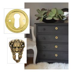 Add interest to a monochrome dresser with a distinctive keyhole cover.  Find dozens of furniture key holes at House of Antique Hardware: http://www.houseofantiquehardware.com/antique-key-hole-covers.  Image and idea re-pinned from http://pinterest.com/pin/240309330088221926/