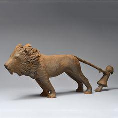 Petite fille et lion - 43x17,5x8 cm
