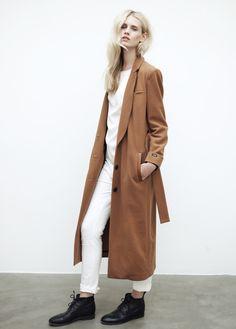 Belted wool camel coat