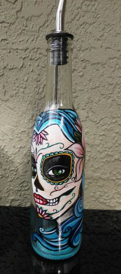 Day of the Hand Painted Bottle Liquid Dispenser by artsyleenies