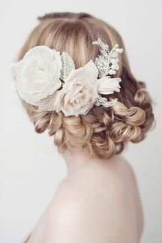 Rosalie Hair Comb- wedding, bridal comb, floral hair comb, French lace, silk handmade flowers