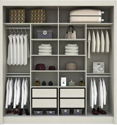 great way to organize your closet! Bedroom Built In Wardrobe, Bedroom Built Ins, Bedroom Closet Design, Wardrobe Cabinets, Master Bedroom Closet, Bedroom Wardrobe, Wardrobe Closet, Closet Designs, Bedroom Cupboard Designs