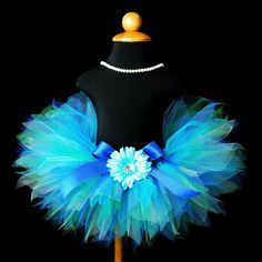Turquoise Green Blue Tutu...Flower Girl, Photography Prop, Birthday Tutu...Infant Toddler Sizes Newborn to 4T . . . CARIBBEAN BLUE. $28.00, via Etsy.