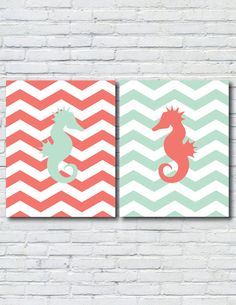 SHIPS FREE - Opposites Attract: Seahorse 8x10 Prints in Mint and Coral via Etsy