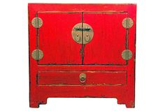 LOVE THIS!!!!  Beijing Nightstand, Red on OneKingsLane.com