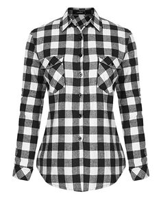 a1ce2434b Mixfeer Women's Roll Up Long Sleeve Plaid Button Down Casual Shirt