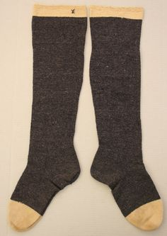 Stockings - 1750 - 1800 - possible from Leffingwell knitting miss in Norwich CT Litchfield Historican Society #1972-01-224-a,b