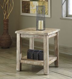 Rustic Accents Chairside End Table Bisque - LampsUSA