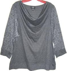 Nicole by NICOLE MILLER grey knit top tunic 3/4 sleeves leopard draped jersey L #NicoleMiller #KnitTop #Casual plus size