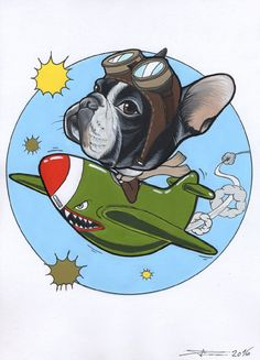 French Bulldog as a spitfire pilot illustration by Jeroen Teunen