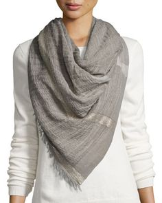Metallic-Striped+Wool-Blend+Scarf,+Light+Gray+by+Peserico+at+Neiman+Marcus.