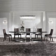 The High End Modern Oval Dining Table, is shown here with a beveled edge walnut veneer top on a statement polished stainless steal frame. Striking in any dining interior, fabulous Italian design! Contemporary Dining Table, Modern Table, Italian Furniture, Luxury Furniture, Dining Room Blue, Wooden Table Top, Room Decor, Interior Design, Prince