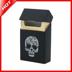 Novelty Black Silicone Holds 20 Cigarettes Cigarette Case Smoking Accessories Cigarette Box Cigarette Holder Tobacco Box #Affiliate