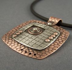 Copper and Sterling Silver Mixed Metal Mod Squares di lpjewelry