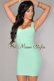 Mint Green Sleeveless Silky Bandage Dress    $64.99