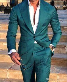 Mens Suit Slim Fit Tuxedo Prom Wedding Blazer Style Gentle Tailor Made 2 Piece Terno Mens Fashion Suits, Blazer Fashion, Mens Suits, Tuxedo Wedding, Wedding Suits, Wedding Tuxedos, Green Suit Men, Terno Slim Fit, Prom Suits For Men